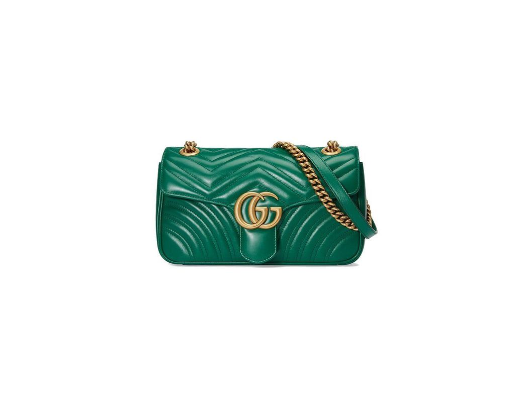 cc743c92c3331 Lyst - Gucci GG Marmont Small Shoulder Bag in Green - Save 9%