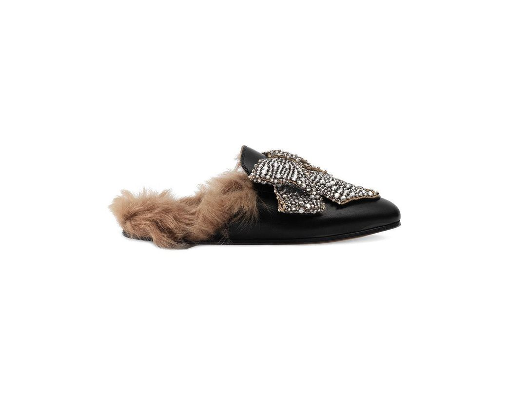 a7ba55ae978 Lyst - Gucci Crystal Bow Princetown Leather Mules in Black - Save 53%