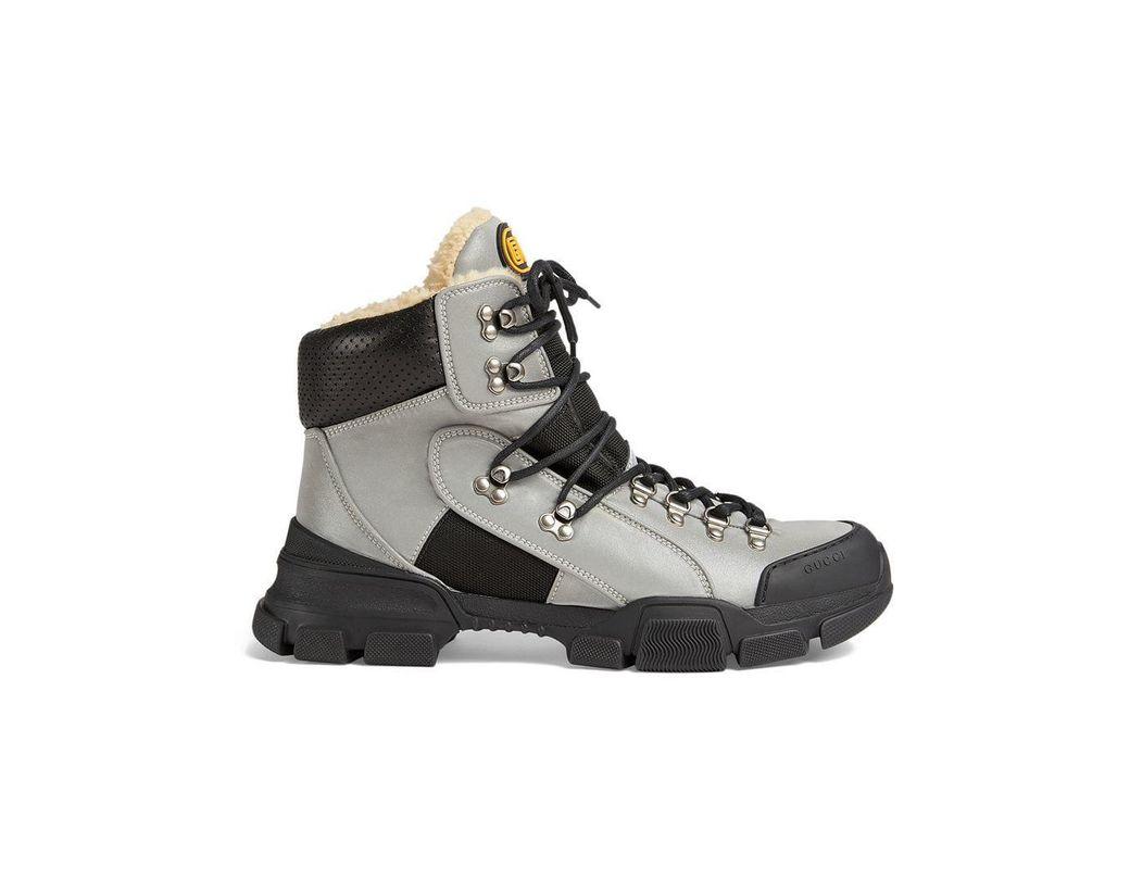 49c2b89e588 Lyst - Gucci Flashtrek High-top Sneaker With Wool in Metallic for Men