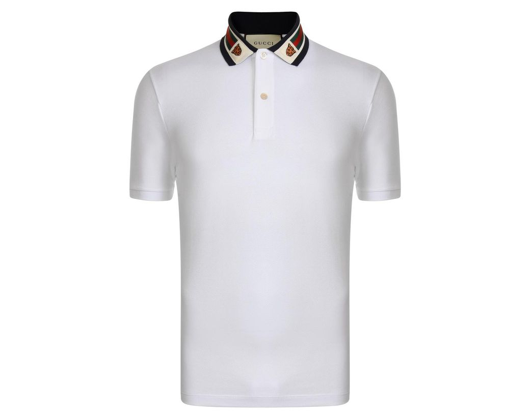 7671cda9eb1 Lyst - Gucci Tiger Collar Polo Shirt in White for Men