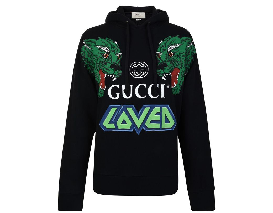 56013e80905 Long-Touch to Zoom. Long-Touch to Zoom. 1  2  3. Gucci - Black Loved Hooded  Sweatshirt for Men - Lyst ...