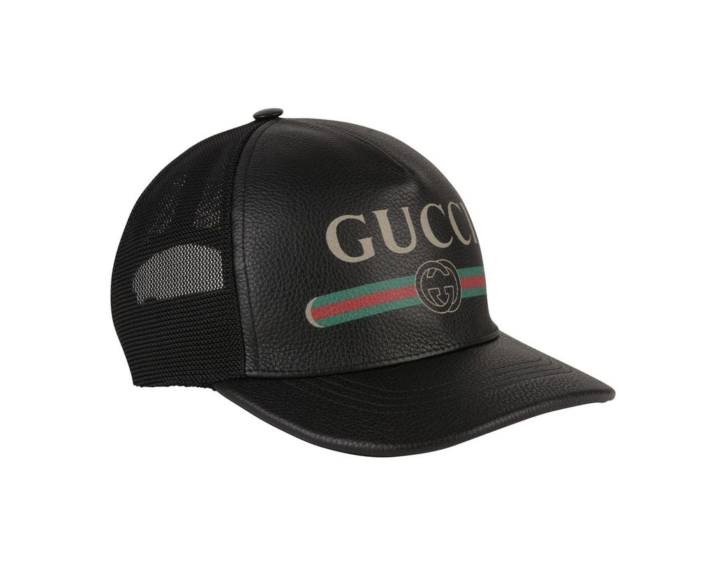 10195151676 Gucci Black Faux Leather Trucker Cap in Black for Men - Save 3% - Lyst