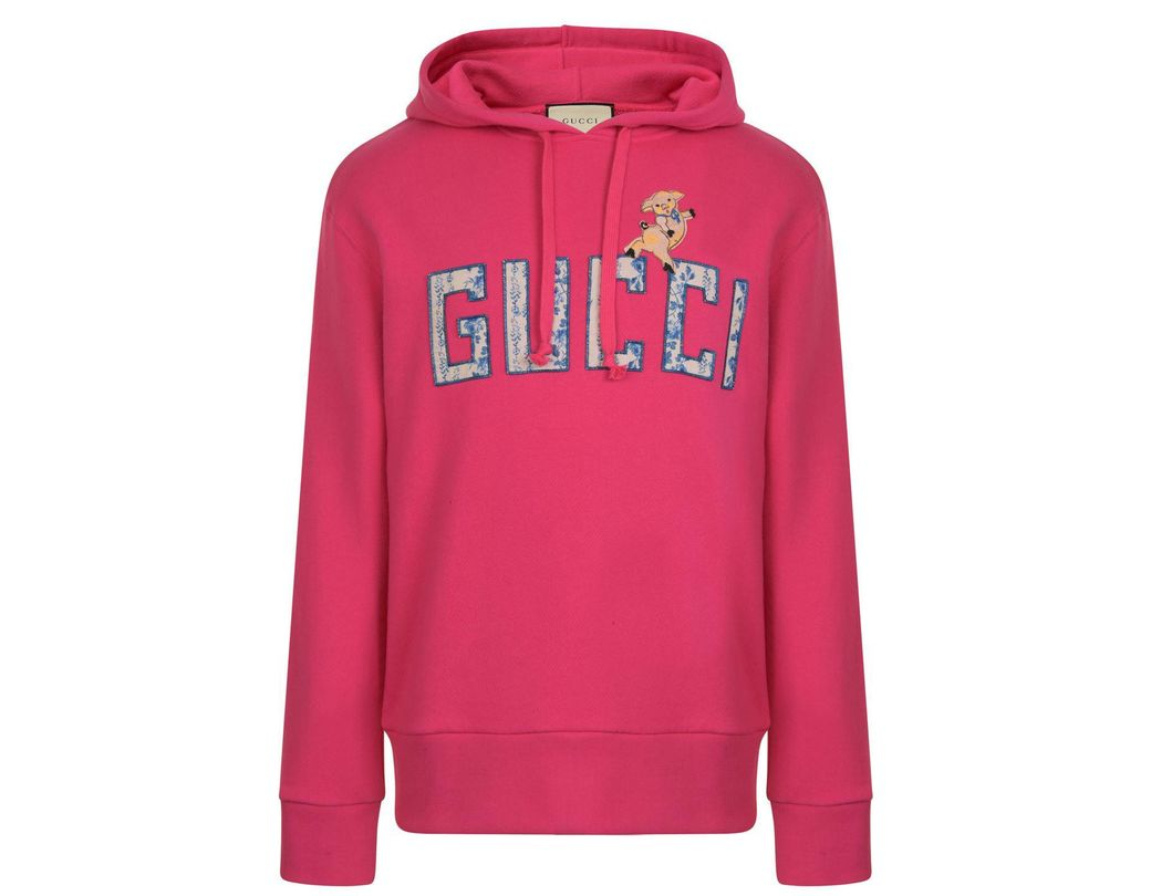 0deb4986347 Lyst - Gucci Piglet Long Sleeve Hooded Sweatshirt in Pink for Men ...