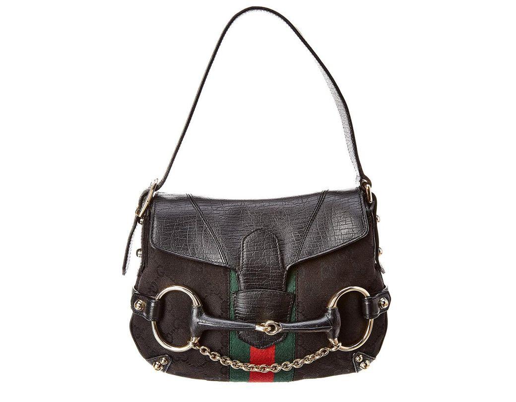 378b323d120 Lyst - Gucci Black GG Canvas   Leather Horsebit Shoulder Bag in Black