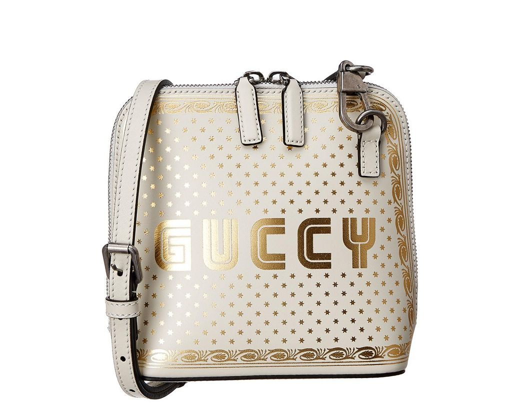 f0db554296d Lyst - Gucci Guccy Sega® Print Mini Shoulder Bag in White - Save 40%