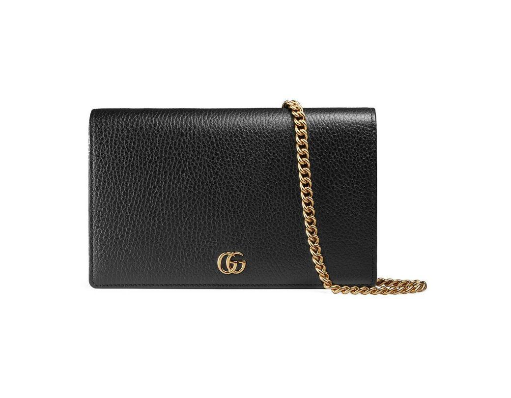 40289acb86b Lyst - Gucci GG Marmont Leather Mini Chain Bag in Black