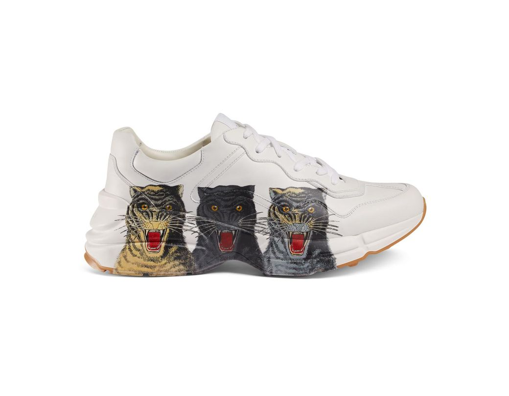155732f6d Lyst - Gucci Men s Rhyton Leather Sneaker With Tigers in White for Men