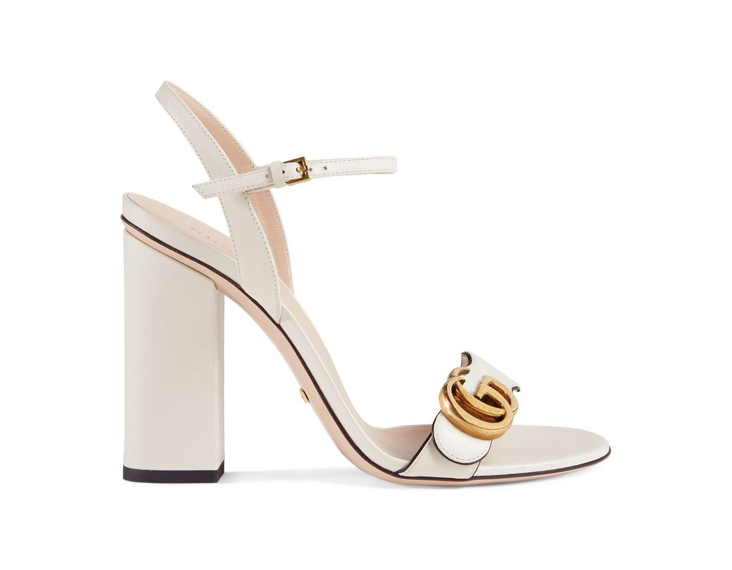 090b0d6063d0 Lyst - Gucci Marmont Leather Block-heel Sandals in White
