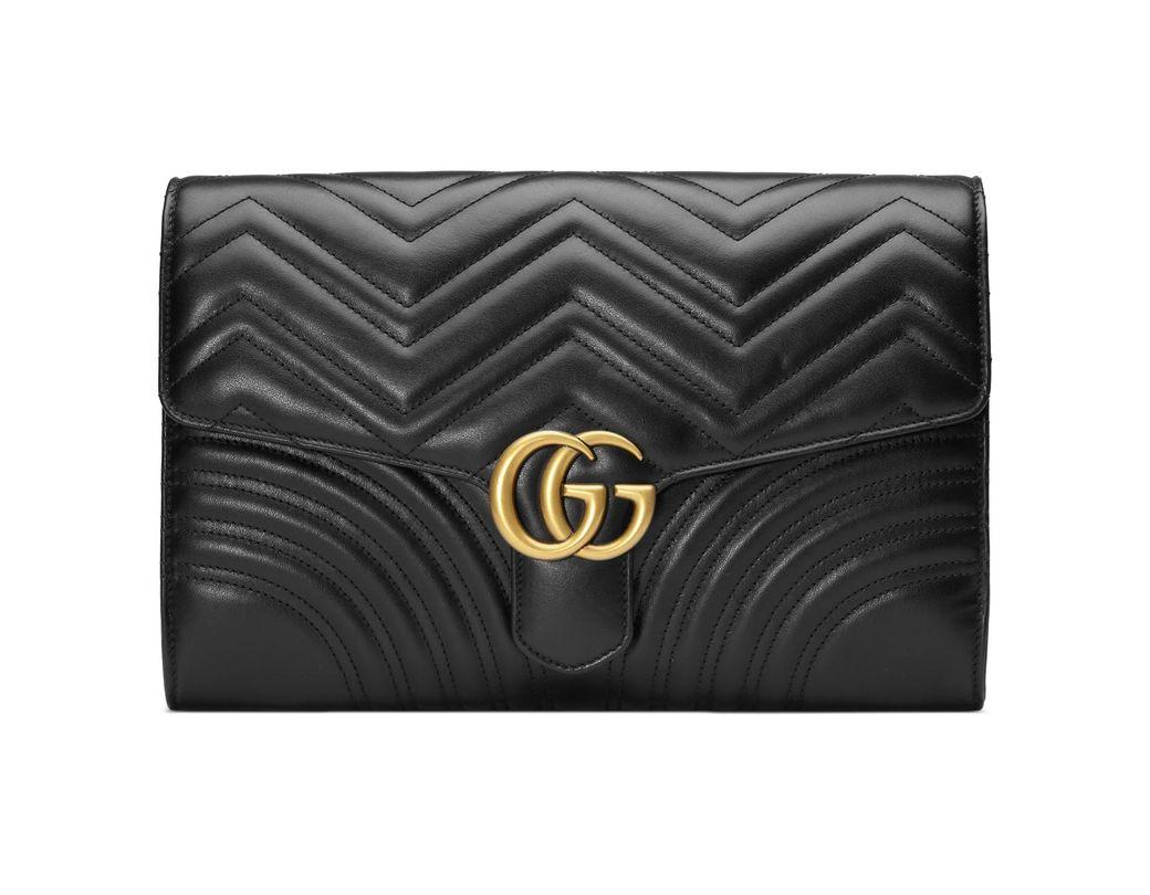 79215f28782 Lyst - Gucci Gg Marmont Matelassé Clutch in Black - Save 3%