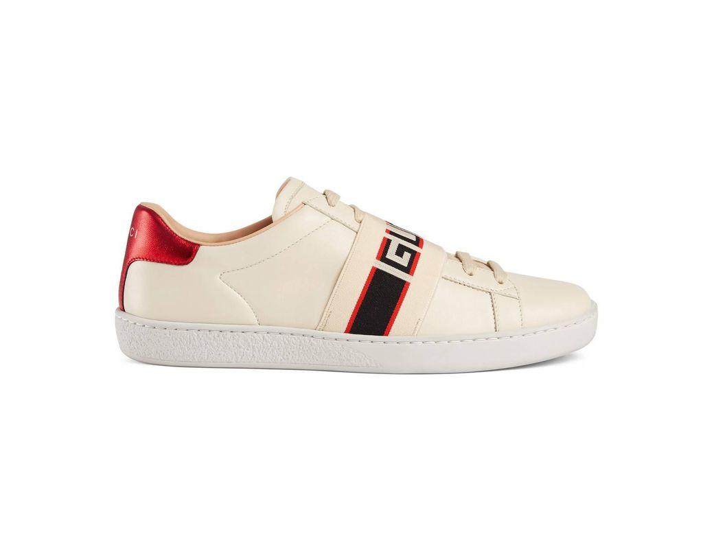 9a99f66e268 Lyst - Gucci Ace Sneaker With Stripe in White