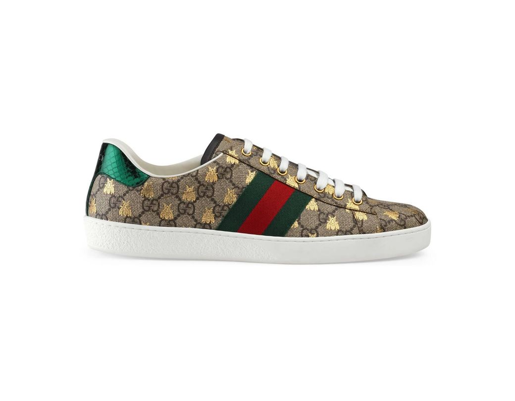 190ecab66aa Lyst - Gucci Ace GG Supreme Bees Sneaker in Red for Men