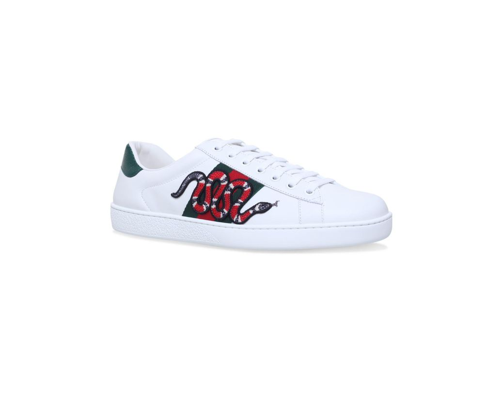 2756056adf5 Lyst - Gucci Snake Ace Embroidered Leather Sneaker in White for Men ...