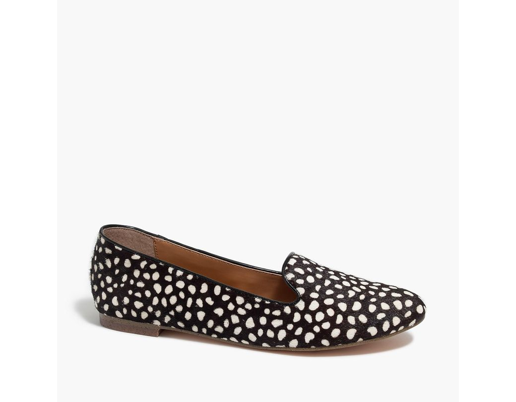 f82ebc78de64 Lyst - J.Crew Cora Leopard Calf Hair Loafers in Brown