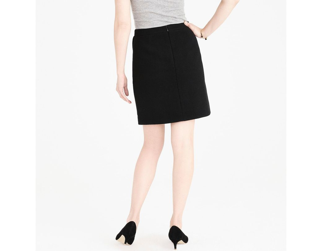 f10ea987f0ab J.Crew Ruffle-front Mini Skirt In Double-serge Wool in Black - Lyst