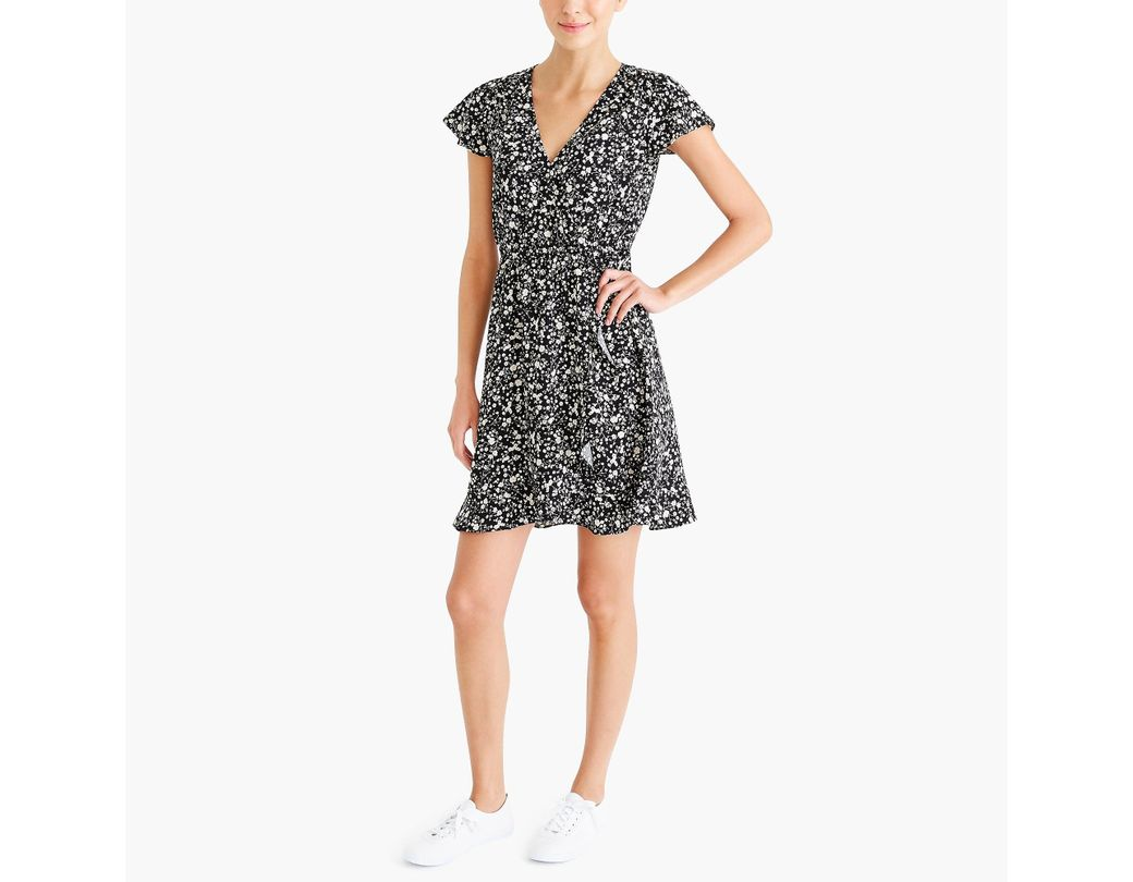 6d8ed879556a Lyst - J.Crew Printed Ruffle Faux-wrap Dress in Black