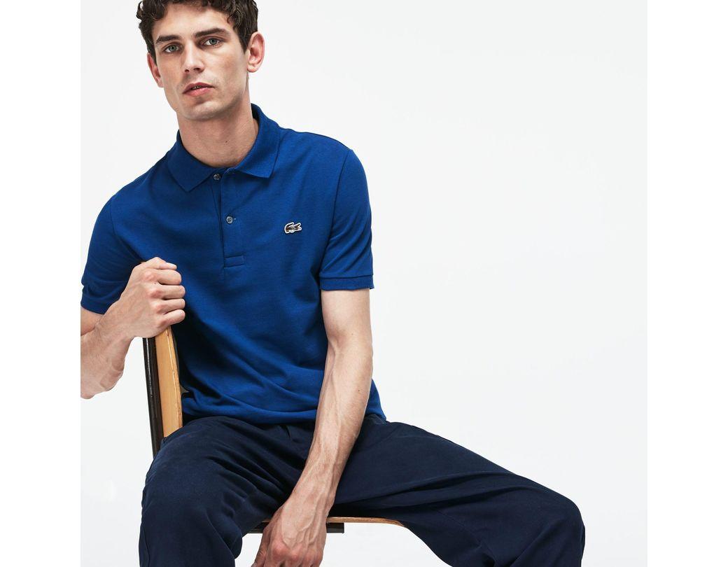 70861bf3fb Lyst - Lacoste Slim Fit Stretch Mini Piqué Polo in Blue for Men ...