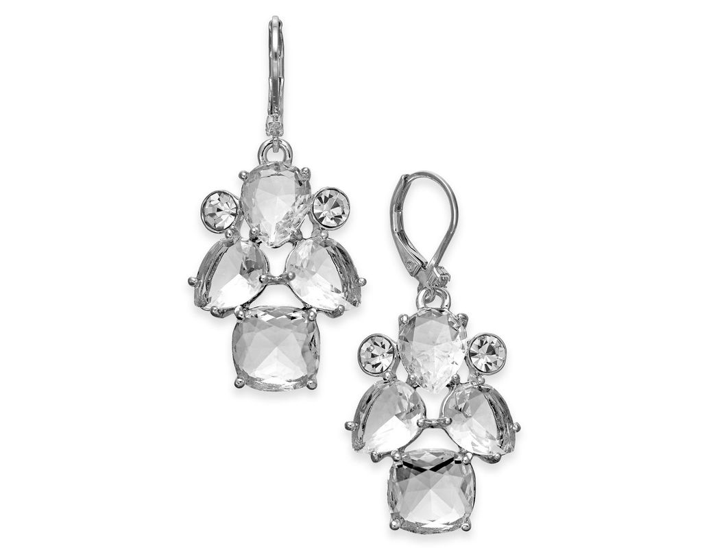 5b57154c61e86 Lyst - Kate Spade Silver-tone Crystal Drop Earrings in Metallic