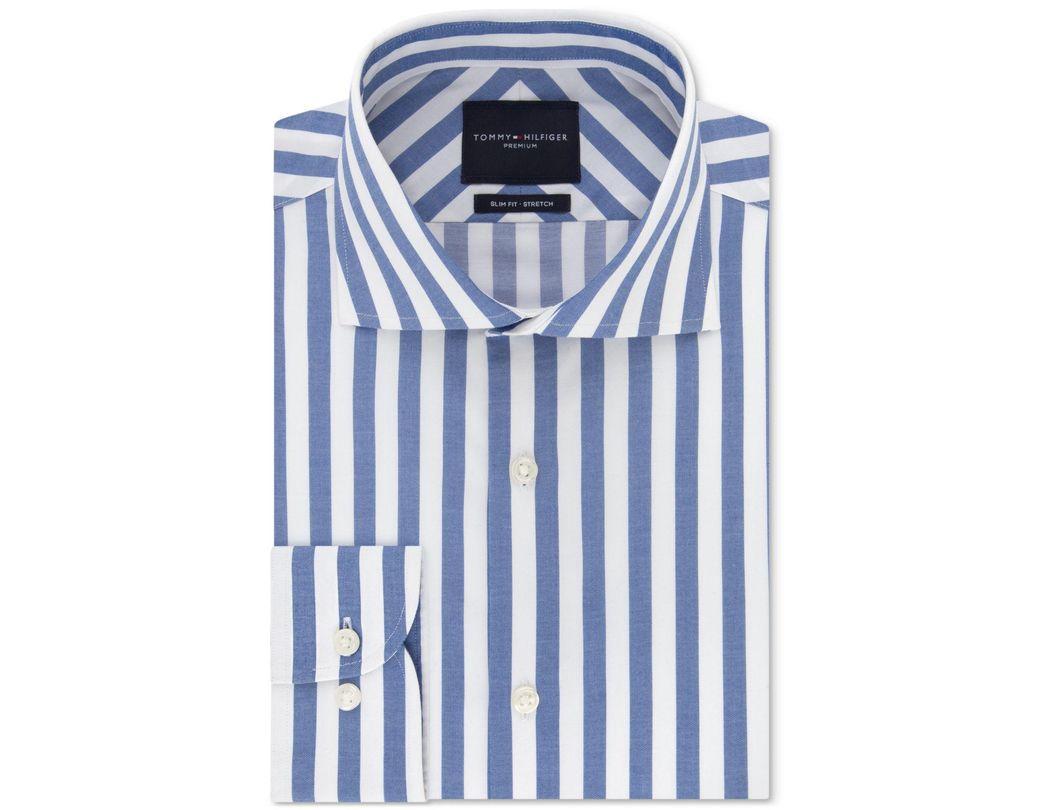 f8dd80d0 Tommy Hilfiger Slim-fit Non-iron Thflex Supima® Stretch Bold Stripe Dress  Shirt in Blue for Men - Lyst