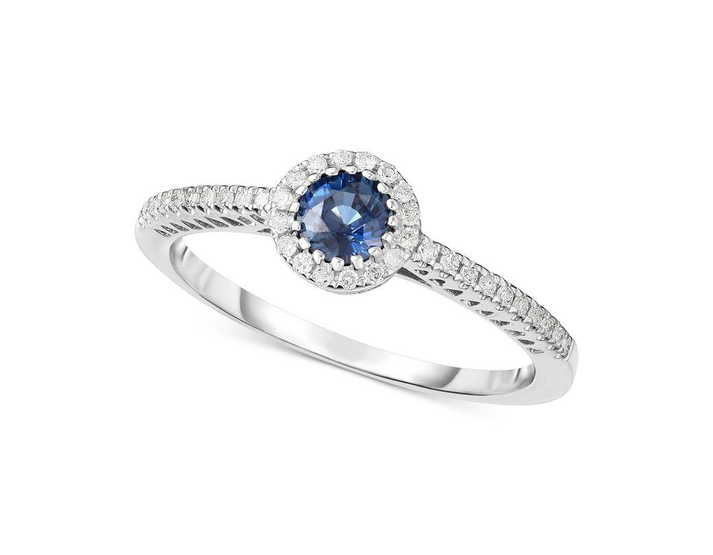96b29c866f12 Lyst - Macy's Sapphire (3/8 Ct. T.w.) & Diamond (1/8 Ct. T.w.) Ring ...