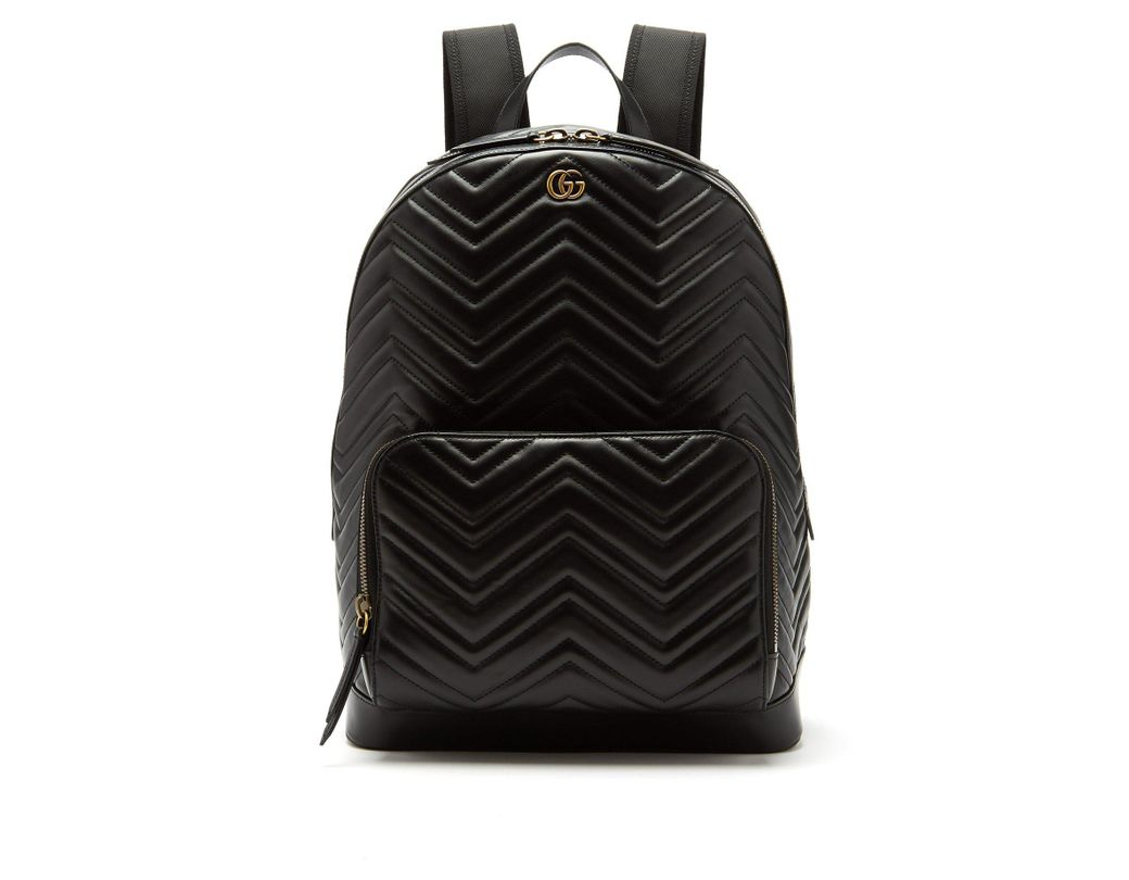 b15425595c6 Lyst - Gucci Marmont Leather Backpack in Black for Men