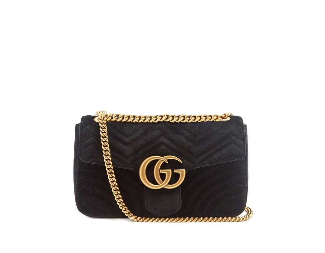 1320fddf160 Lyst - Gucci Gg Marmont Medium Quilted Velvet Shoulder Bag in Black ...