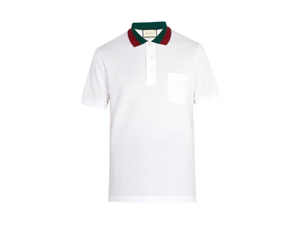 d28ef895179 Lyst - Gucci Web Stripe Trimmed Cotton Piqué Polo Shirt in White for Men