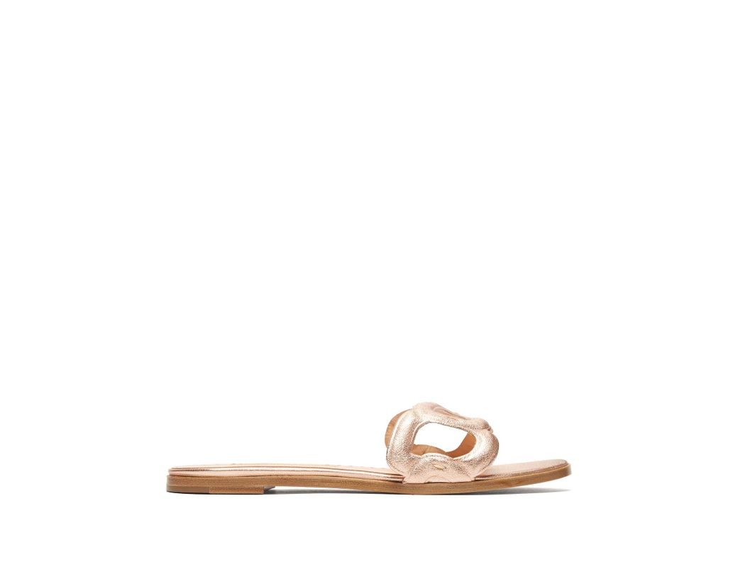 b863c688b Lyst - Rupert Sanderson Annabel Pebble Link Leather Slides