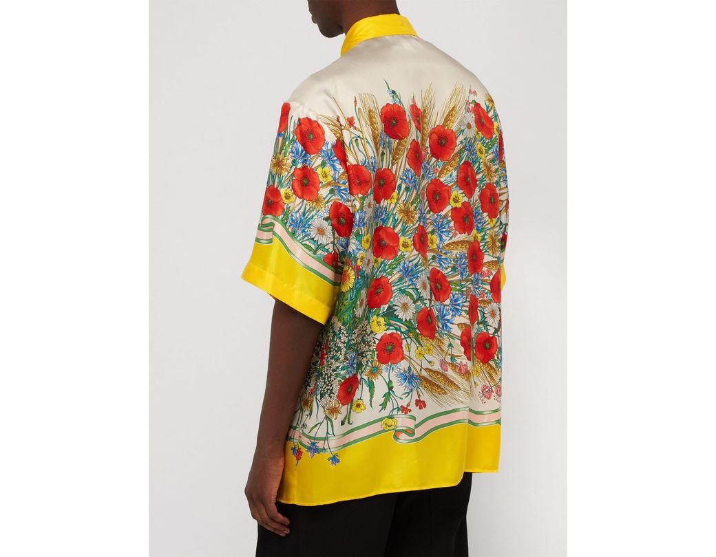320045e4 Gucci Floral-print Oversized Silk-twill Shirt in Yellow for Men - Save 23%  - Lyst