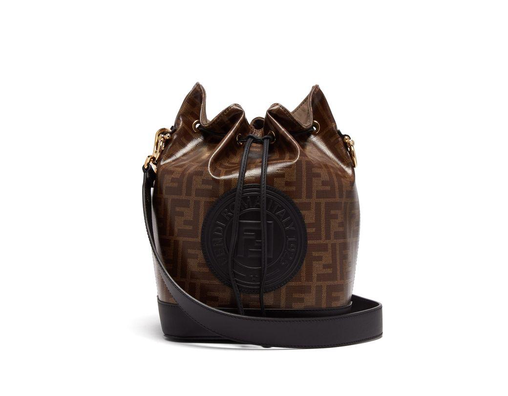 975adcb8a769 Fendi Mon Tresor Ff Jacquard Leather Bucket Bag in Brown - Lyst