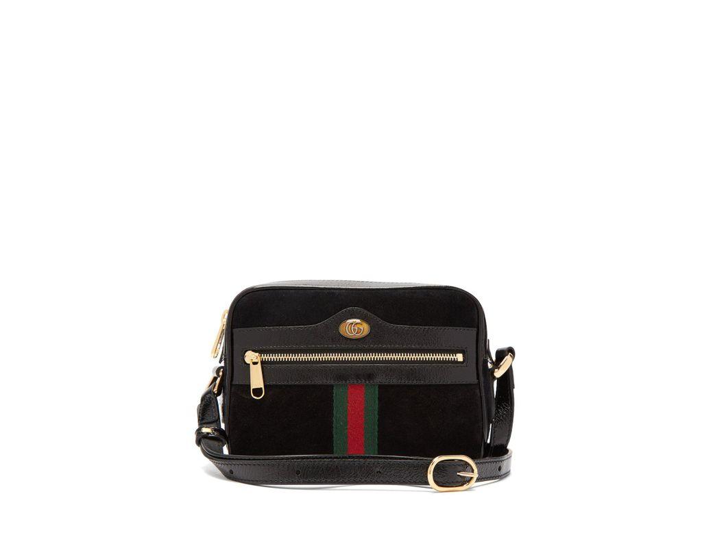 409d791880d Lyst - Gucci Ophidia Black Suede Cross Body Mini Bag in Black