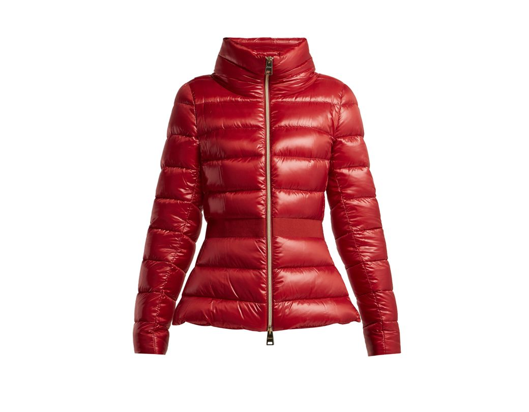 42735d89e2b Herno Contrast Panel Quilted Down Jacket in Red - Lyst