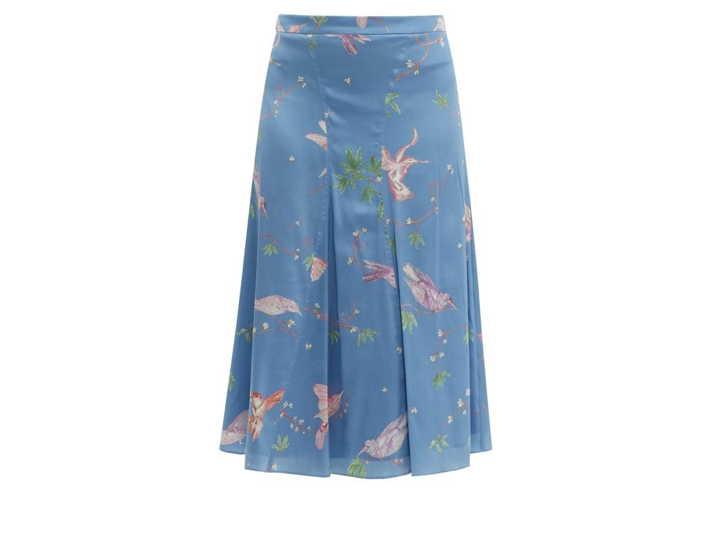 b59a88081b Altuzarra Caroline Bird Print Silk Knee Length Skirt in Blue - Lyst