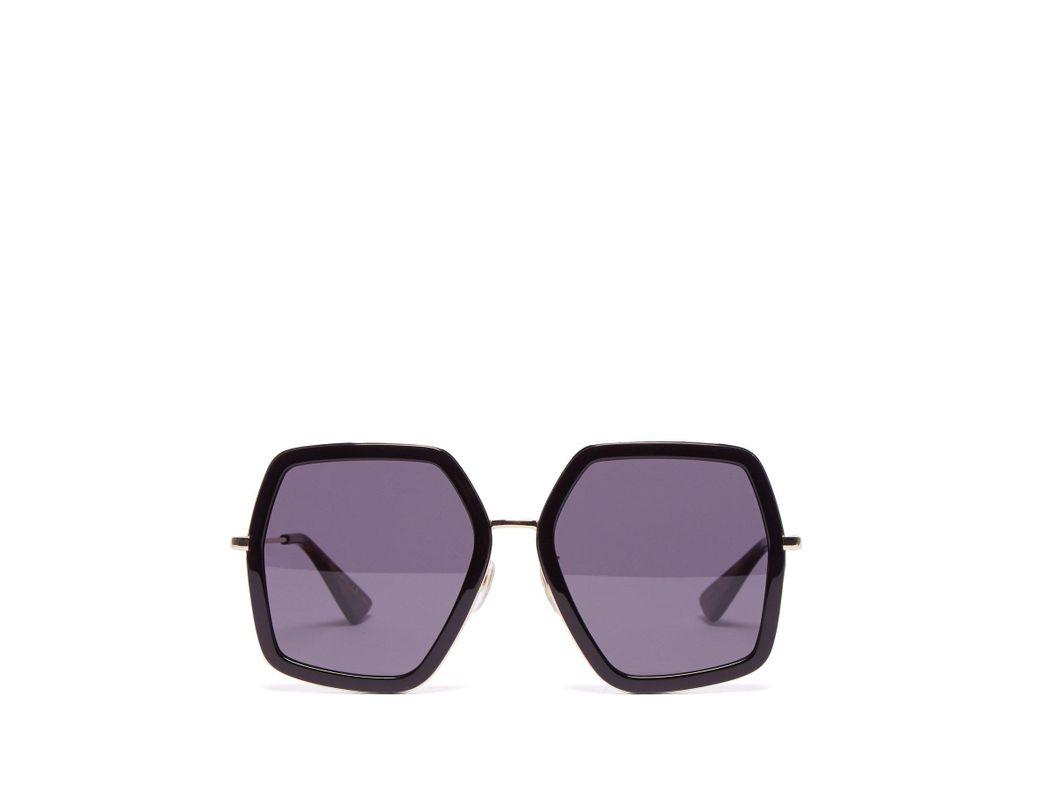 102c95d9ade Lyst - Gucci Oversized Geometric Frame Acetate Sunglasses in Black