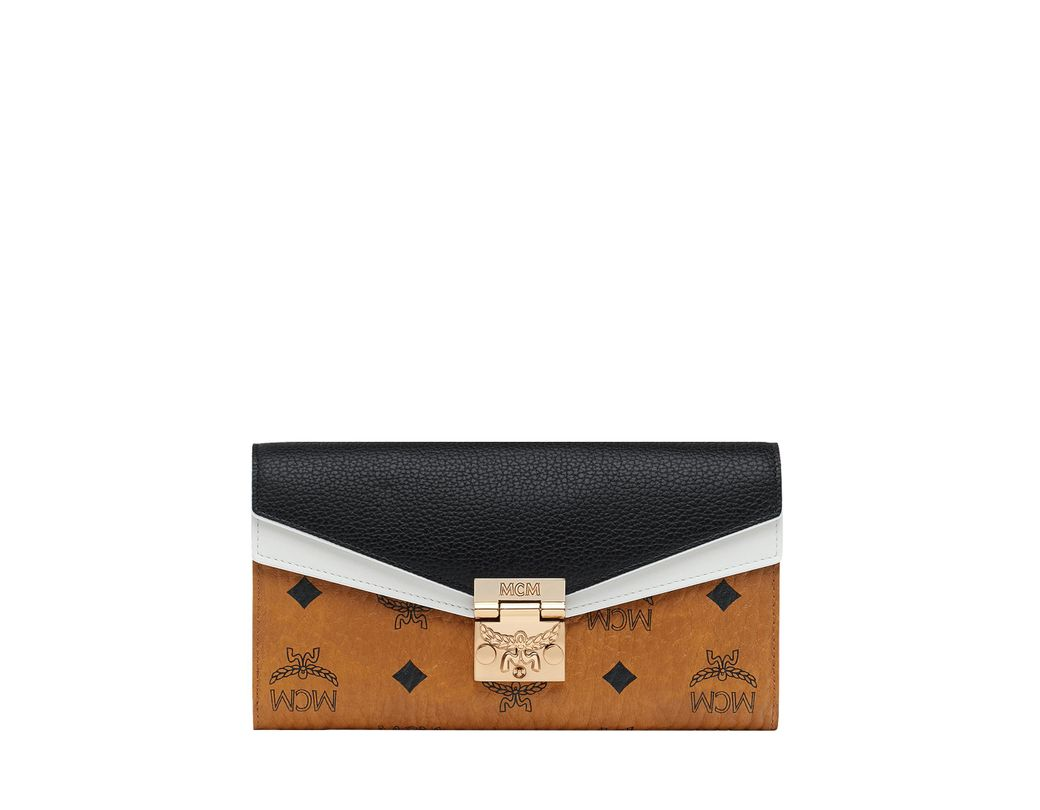 acfaecd4f44 MCM Patricia Crossbody Wallet In Visetos Leather Block in Black ...