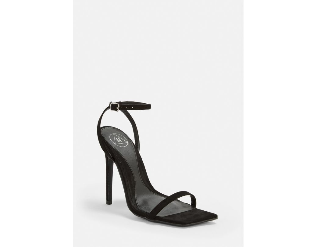 13fa19d2f601 Lyst - Missguided Black Slanted Toe Barely There Heels in Black