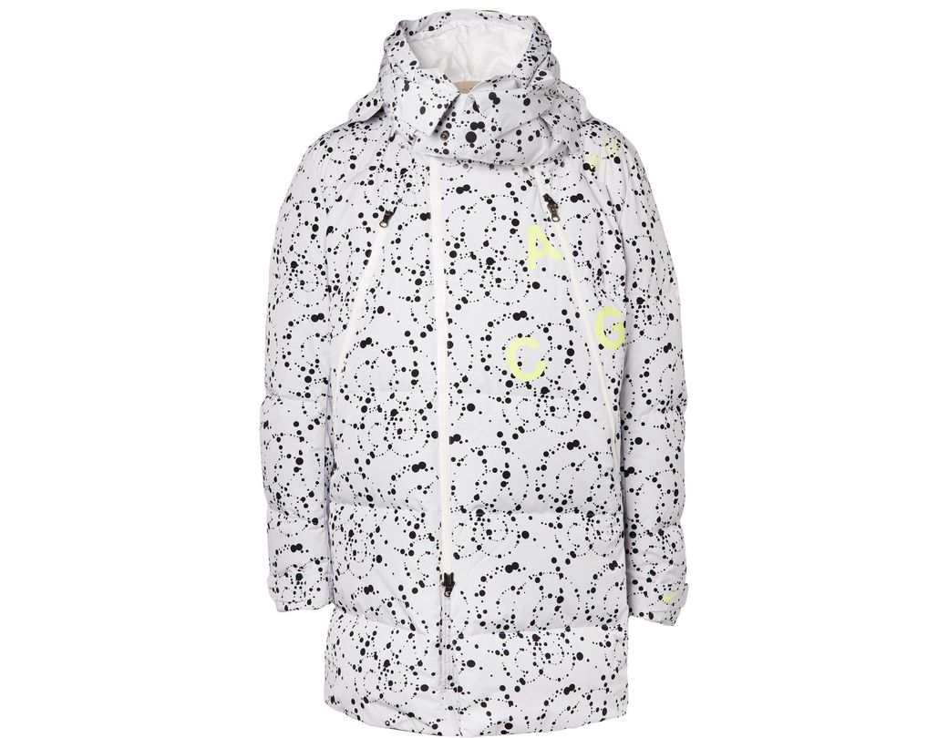 e6cdc990925 Nike. Men s White Acg Oversized Quilted Printed Ripstop Hooded Down Parka