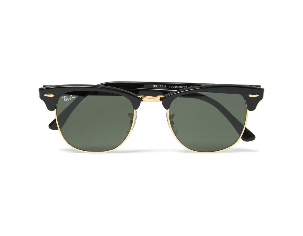 ba9a83f7d25bfd Ray-Ban Clubmaster Square-frame Acetate And Gold-tone Sunglasses in Black  for Men - Lyst