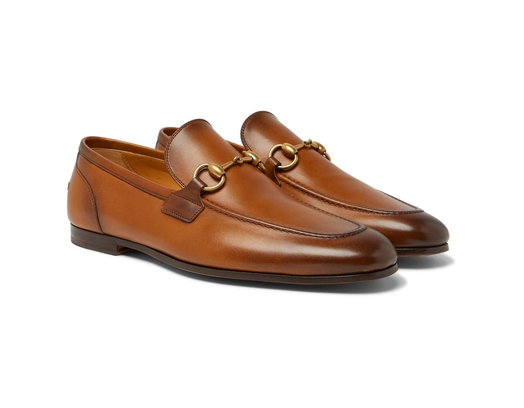 6d4234918ce Gucci Jordaan Horsebit Burnished-leather Loafers in Brown for Men - Lyst