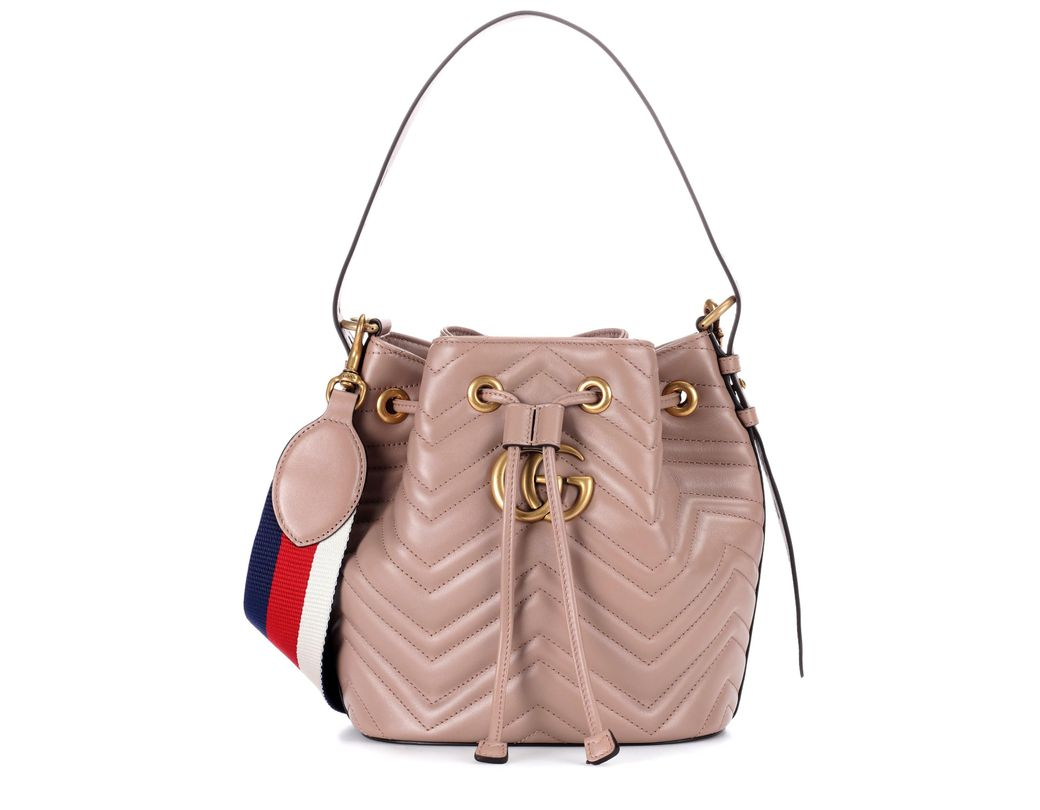 48ecff98ed4ead Gucci GG Marmont Leather Bucket Bag in Natural - Lyst