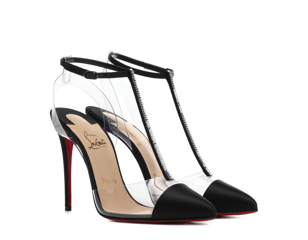 811f98e285c9 Lyst - Christian Louboutin Nosy 100 T Bar Satin And Pvc Pumps in ...