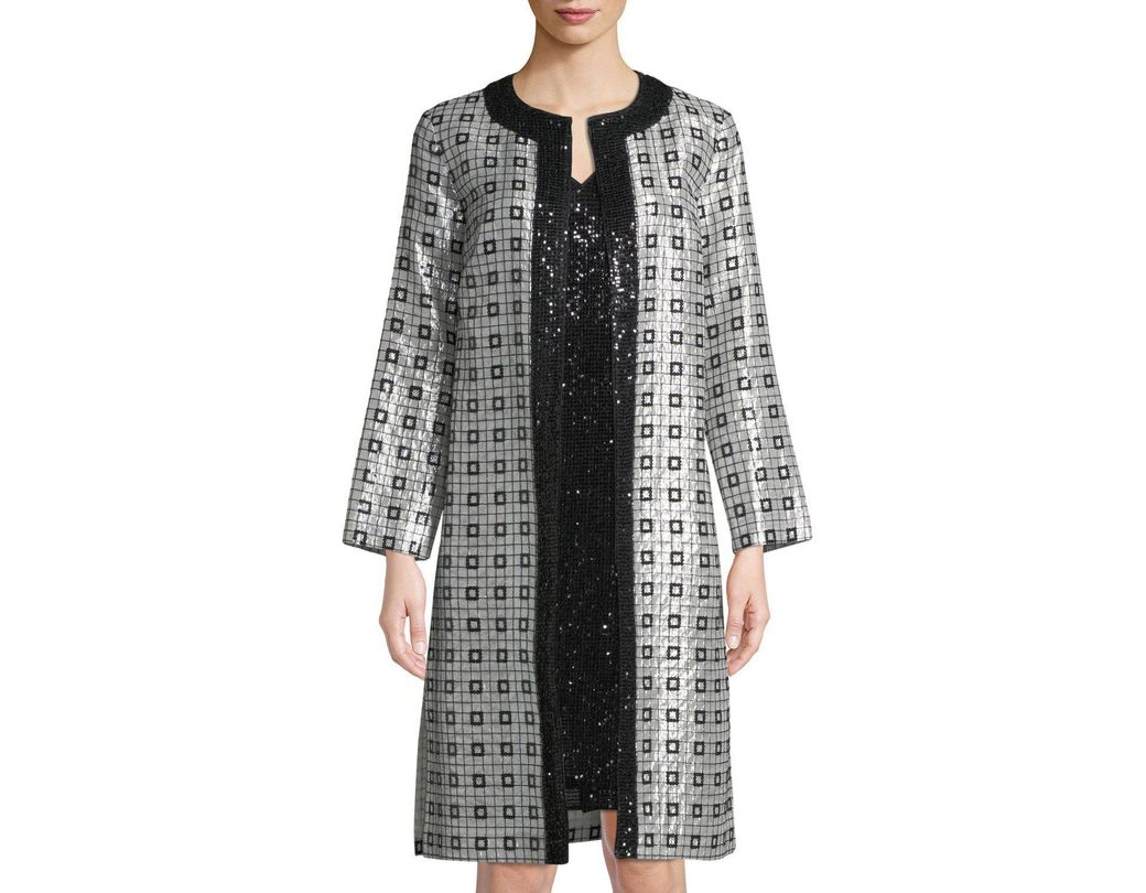 d9d2426c63a3c1 Long-Touch to Zoom. St. John - Black Metallic Silk Chiffon Metallic-embellished  Topper Jacket ...