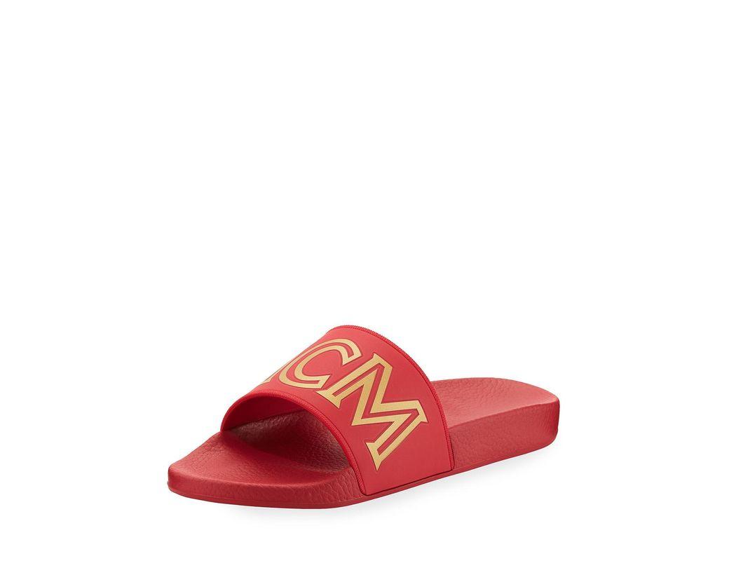 18254d403ebb Lyst - MCM Men s Rubber Logo Slide Sandals in Red for Men