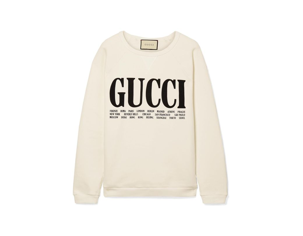ef6dbb4c4b2 Lyst - Gucci Oversized Printed Cotton-terry Sweatshirt in White