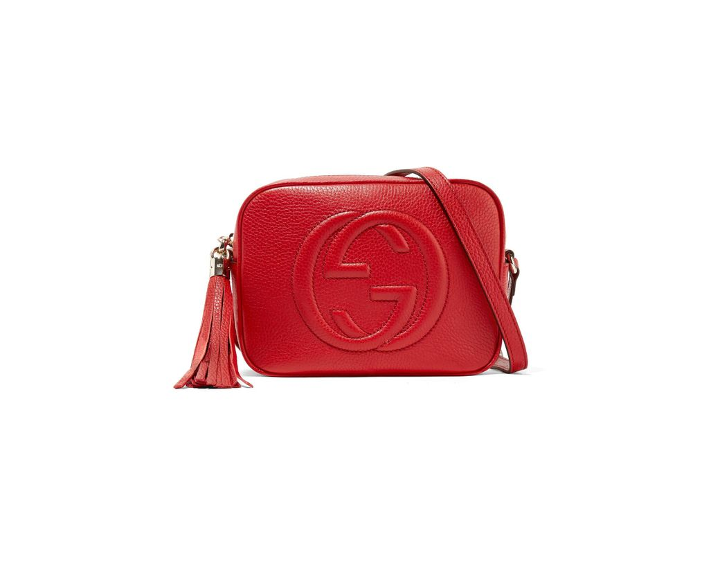 288bcfbe1c34 Lyst - Gucci Soho Disco Textured-leather Shoulder Bag in Red