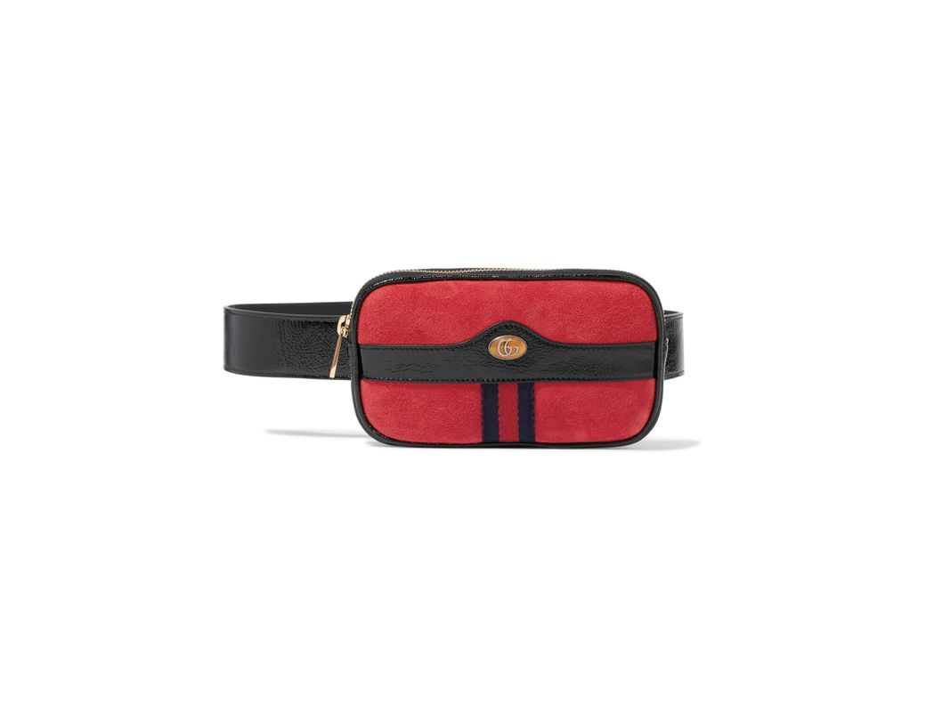 1d83b61b689 Gucci Ophidia Patent Leather-trimmed Suede Belt Bag in Red - Lyst