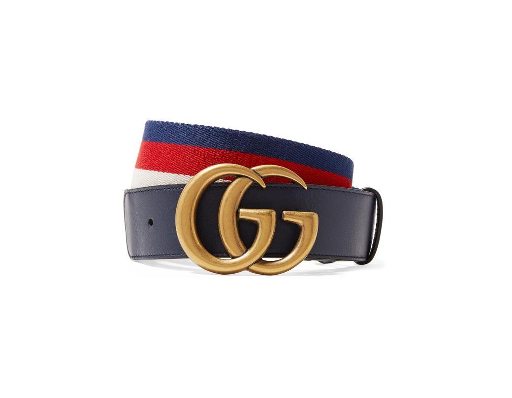 cafc6b5ffb0 Gucci Striped Canvas And Leather Belt in Blue - Lyst