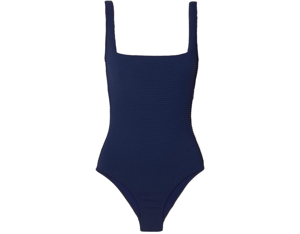 cd1621fe4ad Lyst - Heidi Klein Carlisle Bay Lace-up Ribbed Swimsuit in Blue