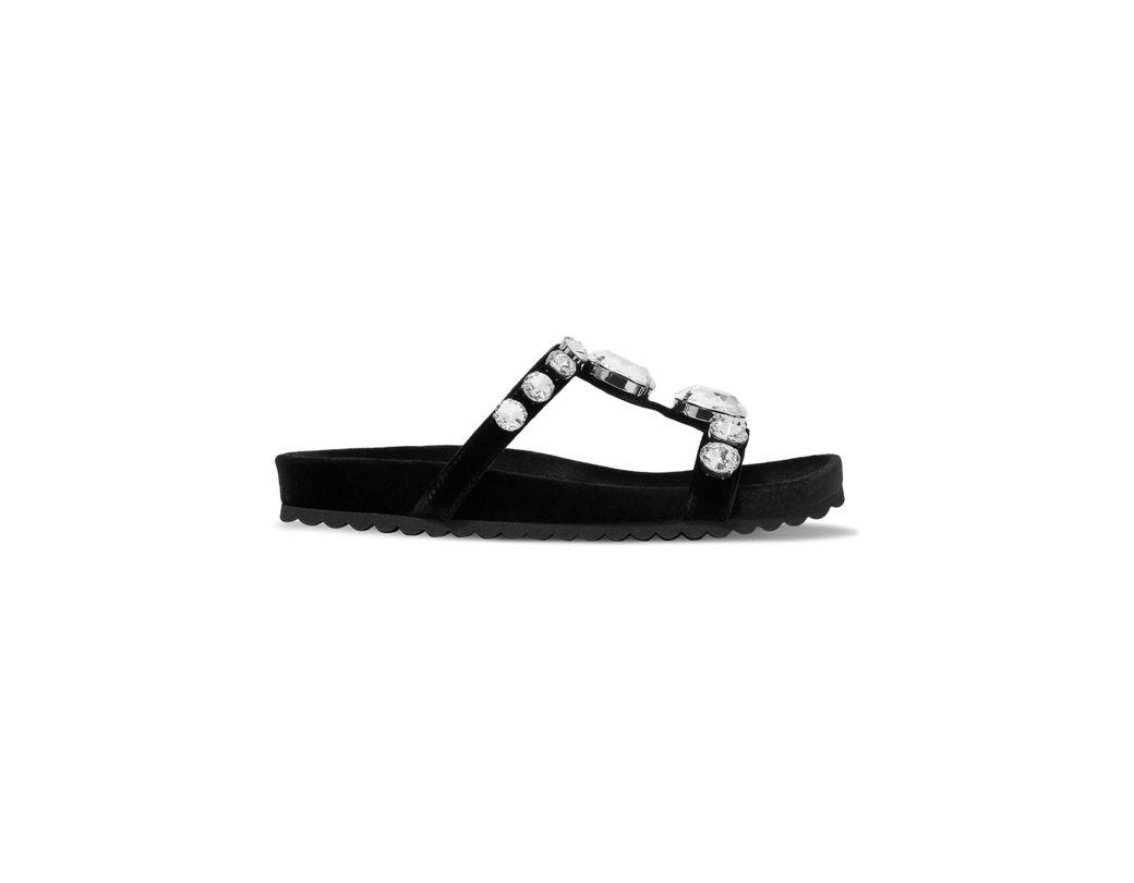e8c17f1047cd Miu Miu Embellished Velvet Sandals in Black - Lyst