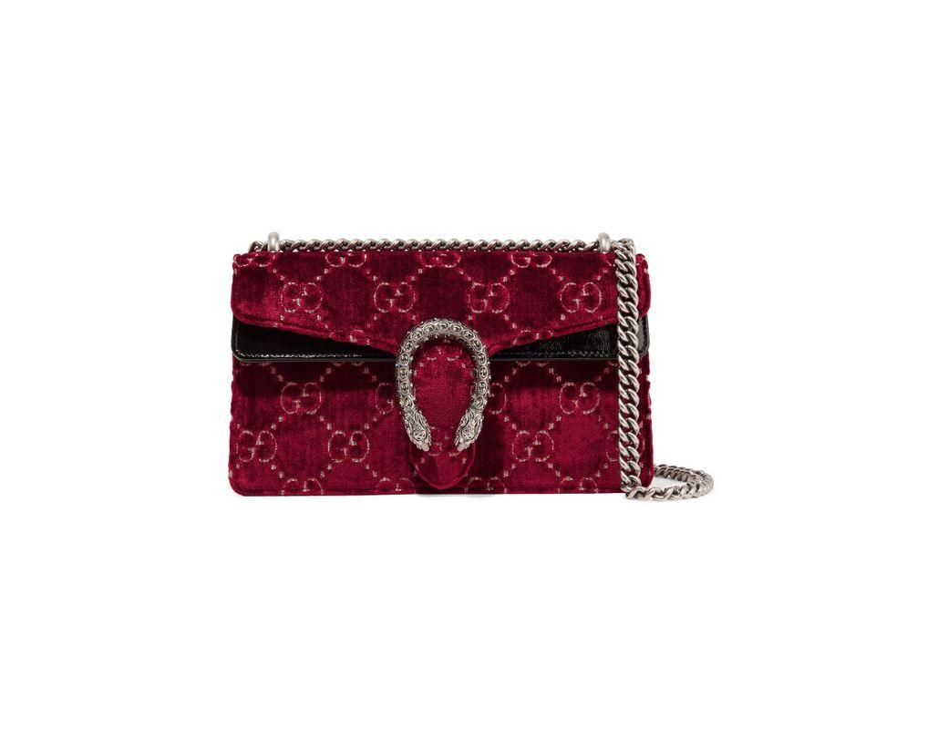 797595659c8 Gucci. Women s Red Dionysus Patent Leather-trimmed Embossed Velvet Shoulder  Bag