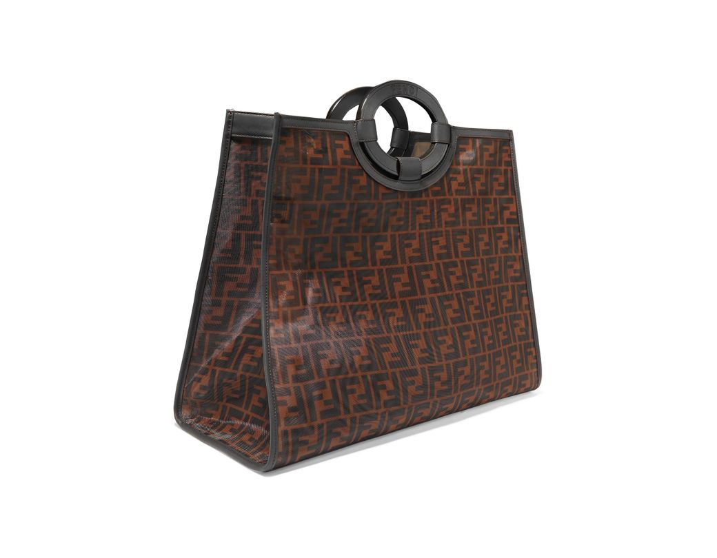 a84adc1872e4 Lyst - Fendi Runaway Large Leather-trimmed Printed Mesh Tote in Brown
